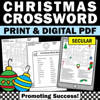 Christmas Activities Crossword Puzzle Literacy Center Worksheets Vocabulary