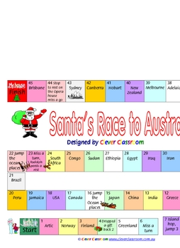 Christmas Board Game - Santa's Race to Australia - 1 page