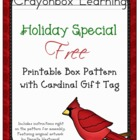 Christmas Cardinal Gift Box with Tag Pattern