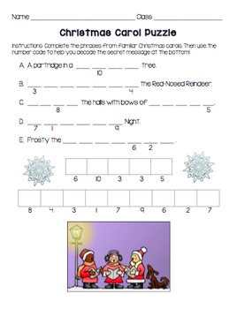 Christmas Carol Puzzle and Coloring Page