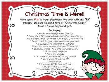 "Christmas - ""Classroom Elf"" printables!"