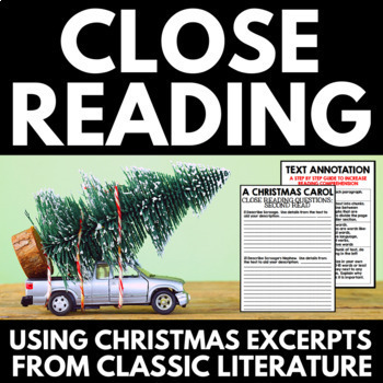Christmas Close Reading for Middle School Students - with excerpts from classics