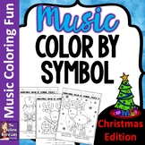 Christmas Color By Music Symbol set of 8 Color Sheets for