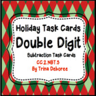 Christmas Common Core Task Cards 2.NBT.5 (Double Digit Sub
