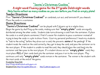 Christmas Cookies--Santa's 2nd Grade Dolch Sight Word Game