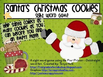 Christmas Cookies--Santa's Pre-Primer Dolch Sight Word Game