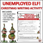 Christmas Creative Writing Activity Students as Unemployed Elves