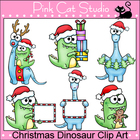 Christmas Dinosaur Clip Art  - Personal or Commercial Use