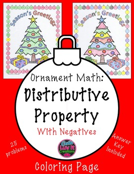 Christmas Math Distributive Property With Negatives Practice & Coloring Page