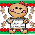 Christmas Gingerbread Syllables Center/Game Sort! CC Align