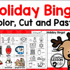 Christmas/ Holiday Bingo~ Color, Cut and Paste with Calling Cards