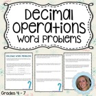 Christmas Holiday Decimal Word Problems Worksheet