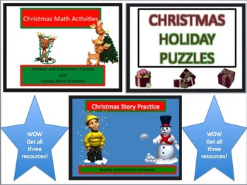 Christmas Holiday Math and ELA ultimate Worksheet Packet w