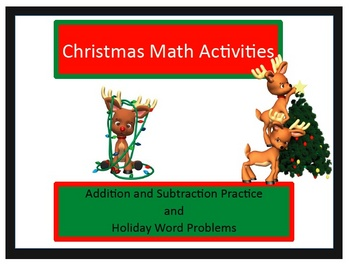 Christmas Holiday Math fact and word problem packet with Keys