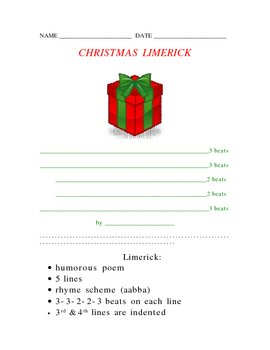 Christmas Limerick Poetry Form