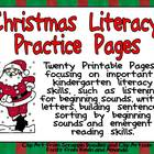 Christmas Literacy Practice Pages Kindergarten- beginning