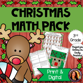 Christmas Math Pack: 25 Pages of Christmas Math-Graphing, Fractions, Time &More!