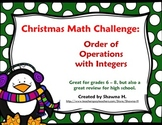 Christmas Math Challenge: Integers and Order of Operations
