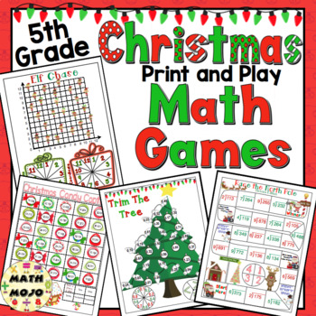 Christmas Math Games and Centers: 5th Grade Print and Play, No Prep Games
