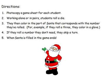 Christmas Math - Roll A Santa Game