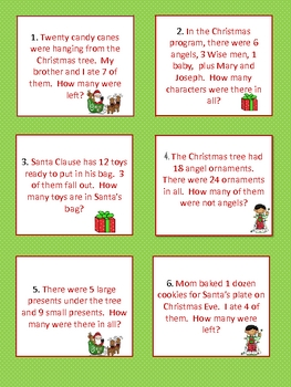Christmas Math Word Problems