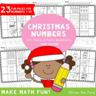 Christmas Number Worksheets - Cut & Paste Kindergarten / G
