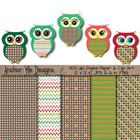 Christmas Polka Dot &amp; Chevron Owls w/ Matching Papers
