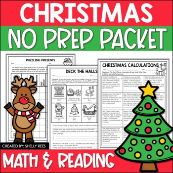 Christmas Reading & Math Packet - Worksheets, Games, Puzzles