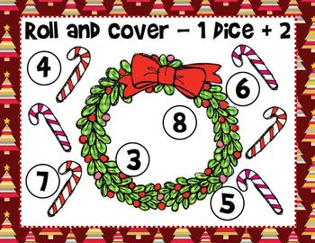 Christmas Roll and Cover Dice Game (4 games in 1)