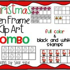 Christmas Ten Frame Clip Art ***COMBO*** - Common Core Mat