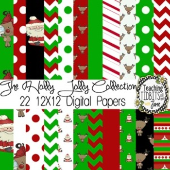 Christmas Themed 12 X12 Digital Paper Collection {Personal