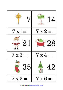Christmas Times Tables Match Cards 7-12 times tables- 13 pages