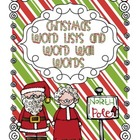 Christmas Word Lists and Word Wall Words