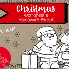Christmas Worksheet & Homework Pack for Speech Therapy