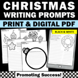 Christmas Writing Paper Black & White 25 Printable Workshe