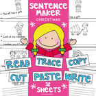 Christmas Writing Worksheets - Cut, Paste, Trace, Copy & Write