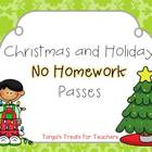 Christmas and Holiday No homework Passes