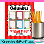 Christopher Columbus - Columbus Day Themed Writing Paper