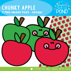 Chunky Apple Set - Clipart and Digital Paper