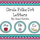 Circle Polka Dot Alphabet - Teal Background
