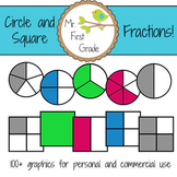 Circle and Square Fractions Clipart
