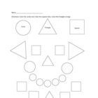 Circles, Squares, Triangle Coloring Worksheet