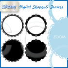 Circular shapes frames , fills borders clipart set