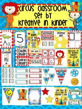 Circus Theme Classroom Decor Set for Beginning of Year