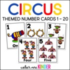 Circus Themed Number Cards 0-20 Pre- K / K