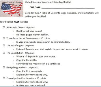 Citizenship Booklet Rubric