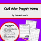 Civil War Activities Menu