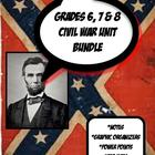 Civil War Unit Bundle Grades 6, 7 and 8