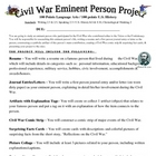 Civil War Eminent Person Project - Coming to Life!