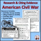 Civil War Lesson Plan, Project, Activities, Citing Evidenc